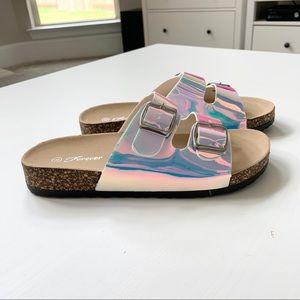 Forever White Holo Sandals Size 8